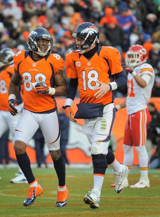 Manning and Thomas celebrate the touchdown. Broncos vs. Chiefs 12-30-2012