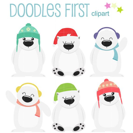 Winter-Eisbären ClipArt für Scrapbooking Card Making Cupcake Toppers Papier Handwerk