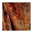 M9842 Garnet Rust Orange Green Black Tapestry Damask Upholstery Fabric, Sample