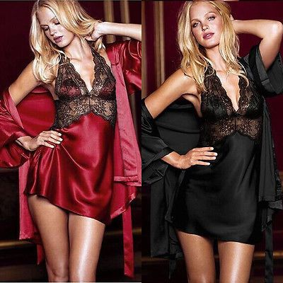 2 PCS Sexy Silk Robe Lingerie Lace Dressing Women Nightgown Sleepwear Bathrobe dress