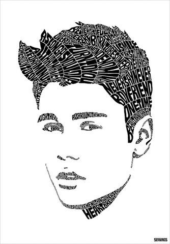 Justin Bieber by Seanings | Typography portrait, Text art