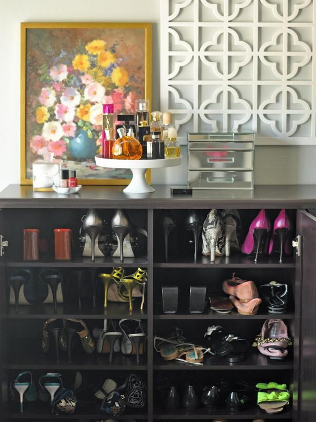 Shallow cabinet for shoes, cake stand for perfumes