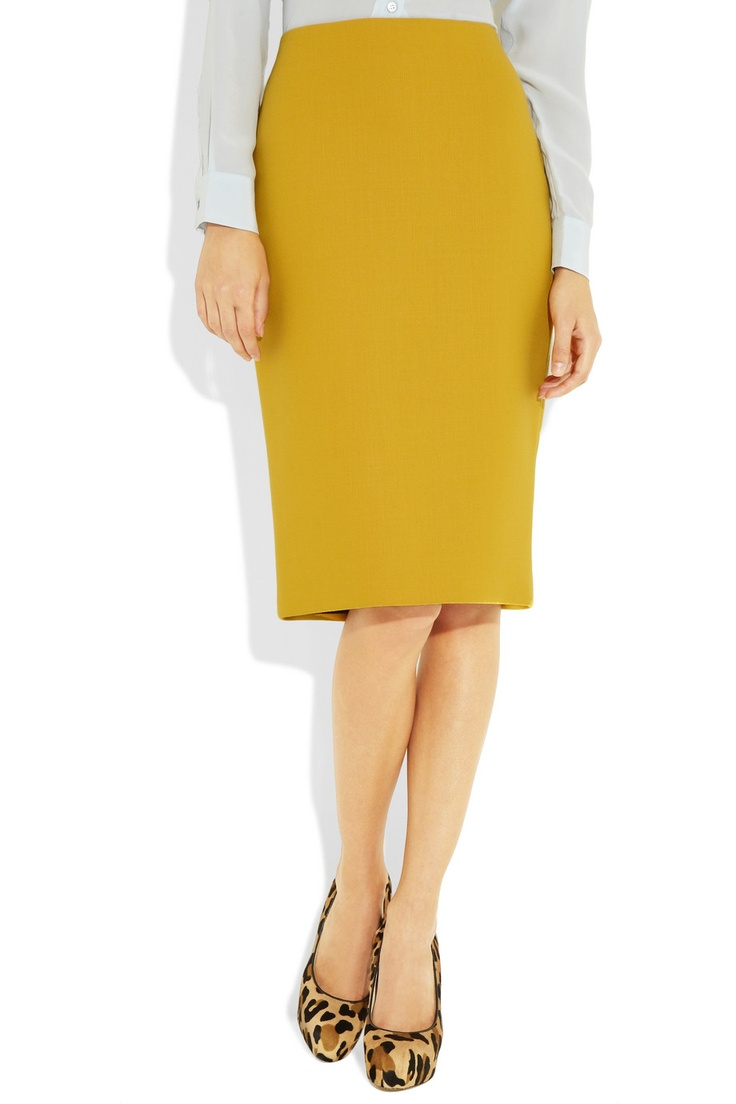 Mustard Colored Pencil Skirt