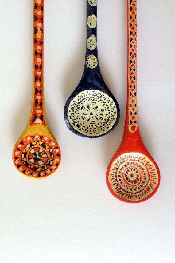 Art Spoons! Three German folk art handpainted vintage wood spoons in red, white, and blue..and yellow.  Beautiful kitchen or home decor **A Place of Refuge on ETSY**
