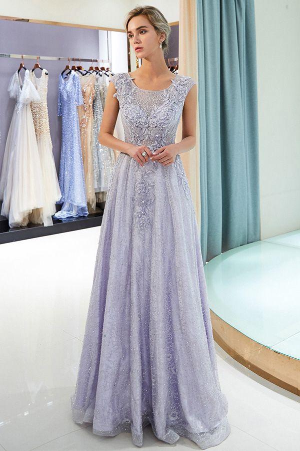 Fabulous Lace Scoop Neckline A Line Formal Dress With Lace Appliques