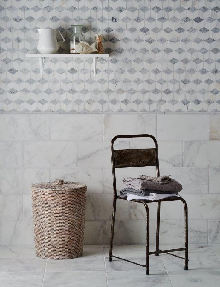 Bathroom tilea Calacatta Tumbled Marble & Carrara Cube Mosaic from Mandarin stone