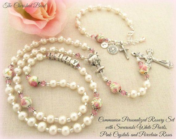 Communion Personalized Rosary Set with White di TheCherishedBead