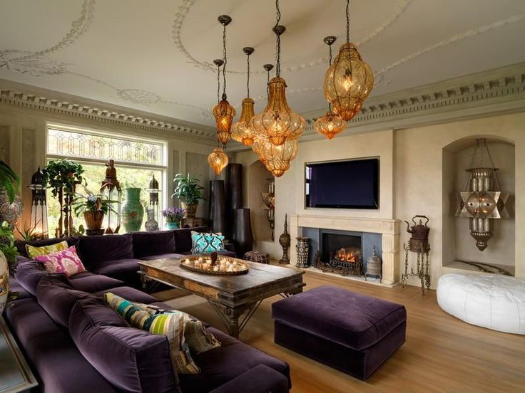 Captivating Luxurious Victorian Villa Living Room Design With TV Wall Mounted Fireplace And Cozy Purple L Shaped Sofa Ideas