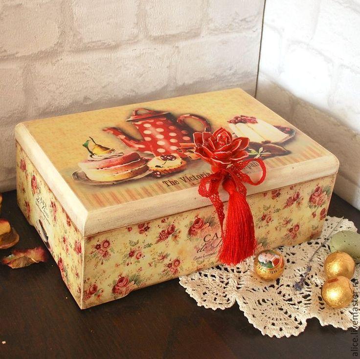 """Купить """"Французская кондитерская"""" короб для чая большой - ярко-красный, роза, коробка для чая, чайная коробка"""