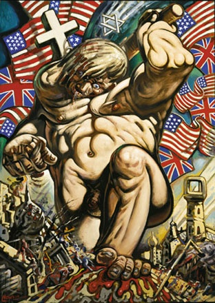 Peter Howson - Crusader  He is excellent at conveying the monstrous hegemony of the western culture.