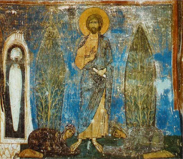 Явление Христа женам мироносицам. Сев. часть (Под сошествиеем во ад)