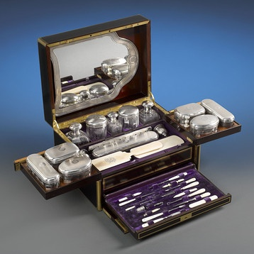Antique French Toiletry Travel Case, ca. 1870