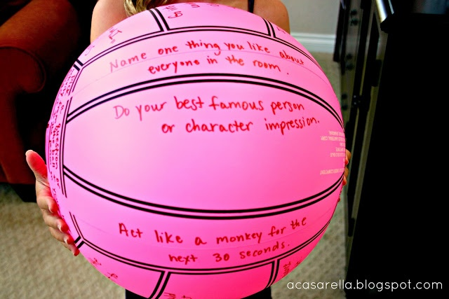 Slumber party game: Truth or Dare ball. Easy to make with an Infinity Permanent Marker (at Target) and a bouncy ball.