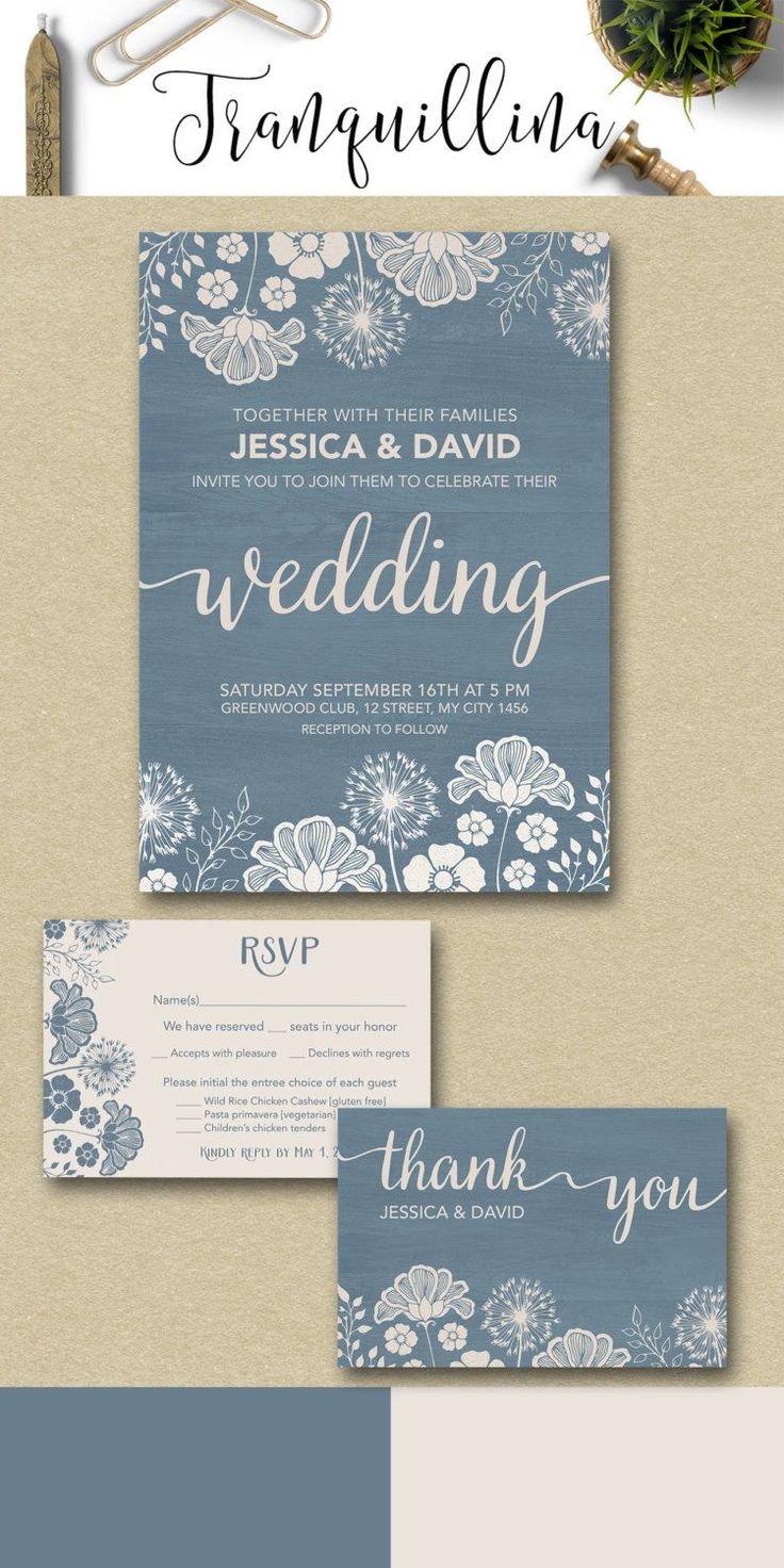 wedding card invite wordings%0A Blue and ivory wedding invitations