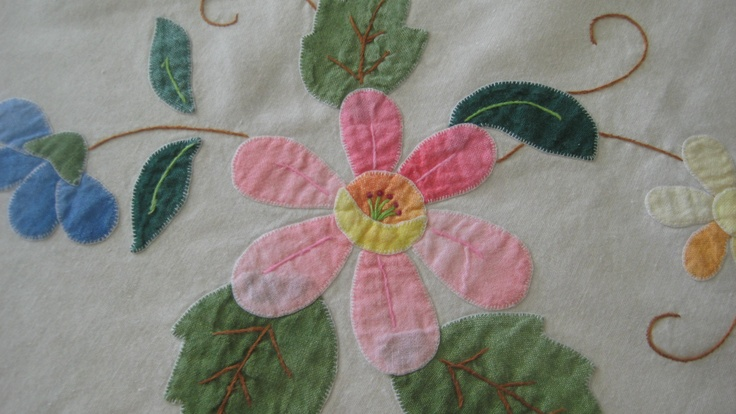Vintage 1940's Tablecloth with sweet quilted appliqued flowers