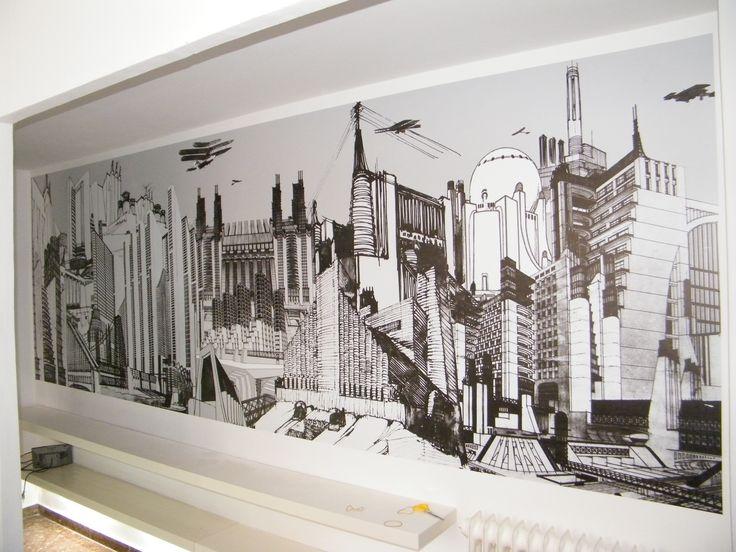 Vinilo decorativo en pared de estudio arquitectura en for Vinilo exterior pared