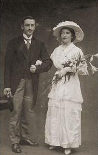 "1910s wedding couple   ""on or about December 1910, human character changed"" - Virgina Woolf"