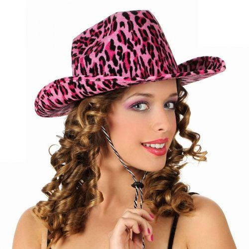 Cowboy hoed met roze luipaard print. Geschikt voor volwassenen.