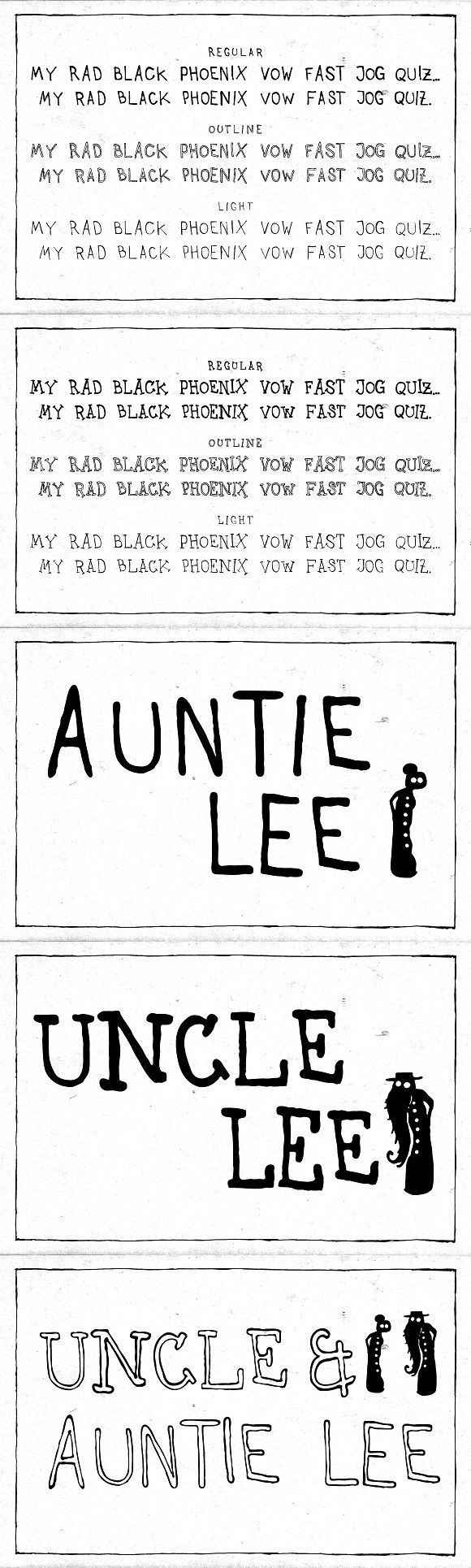 Uncle & Auntie Lee -Family (6 fonts). Outline Fonts