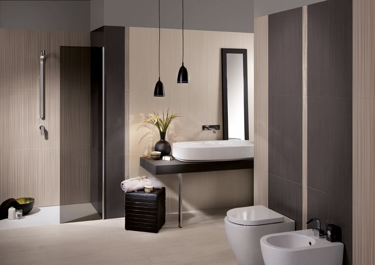 Serie piastrelle per bagno Dress Up. Colori: graphite, ivory e tan. Decoro: stripes #piastrellebagno
