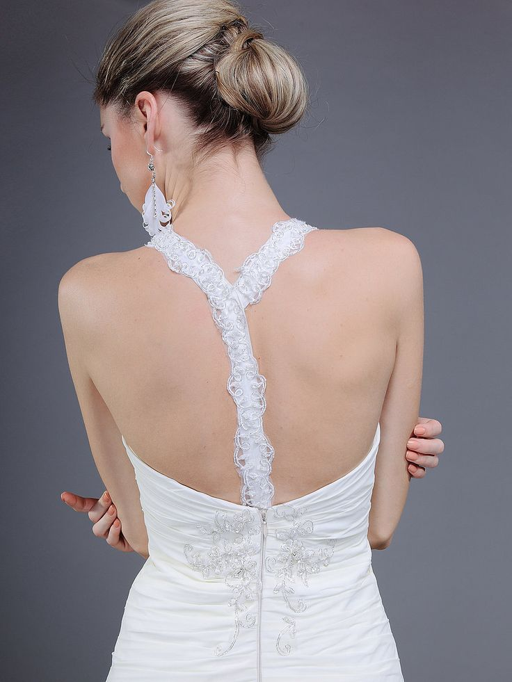 T Back Gathered Bodice Mermaid Wedding Dress...love the back so much