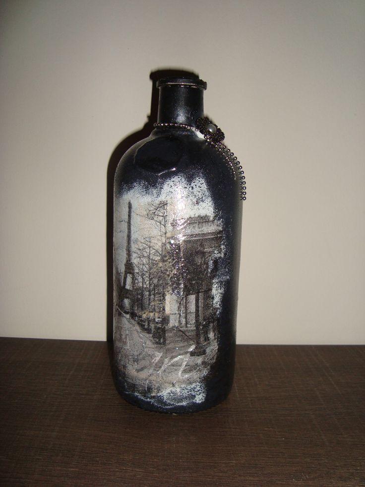 Decoupage on bottle!