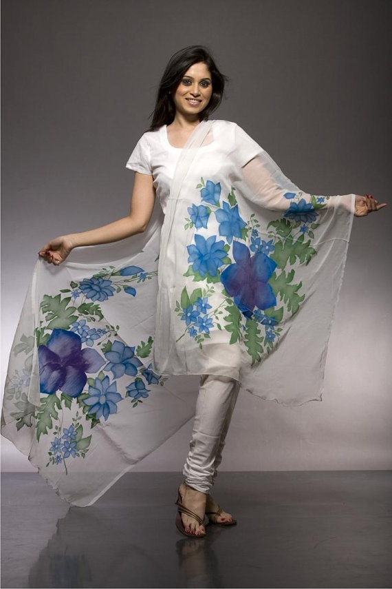 Hand painted stole/dupatta floral design chiffon by Anshul26, $63.00