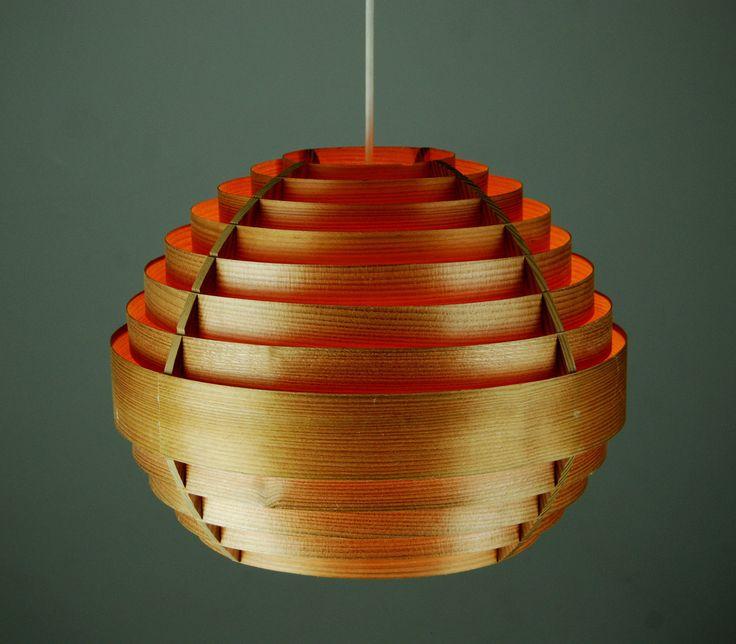 Pine Laminate Pendant LAMP Danish Modern Mid Century Hans Agne Jakobsson 60s 70s