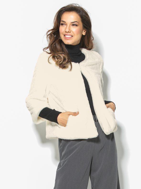 Abrigo corto de pelo mujer manga 3 4  9f9033499e6a