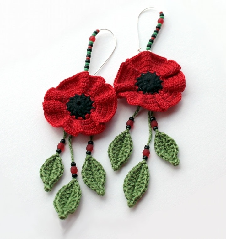 MADE to ORDER - CUSTOMIZABLE - Poppy Flower earrings, poppy, flowers, leaves, crochet, fiber, textile, summer, country, retro, romantic. €20.00, via Etsy.