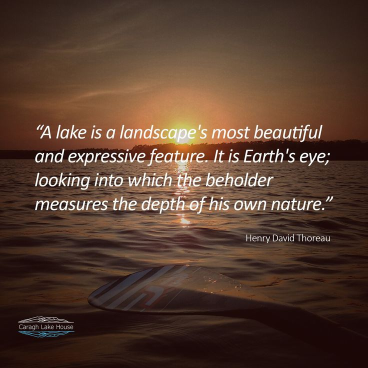 A lake is a landscape's most beautiful and expressive feature. It is Earth's eye; looking into which the beholder measures the depth of his own nature.