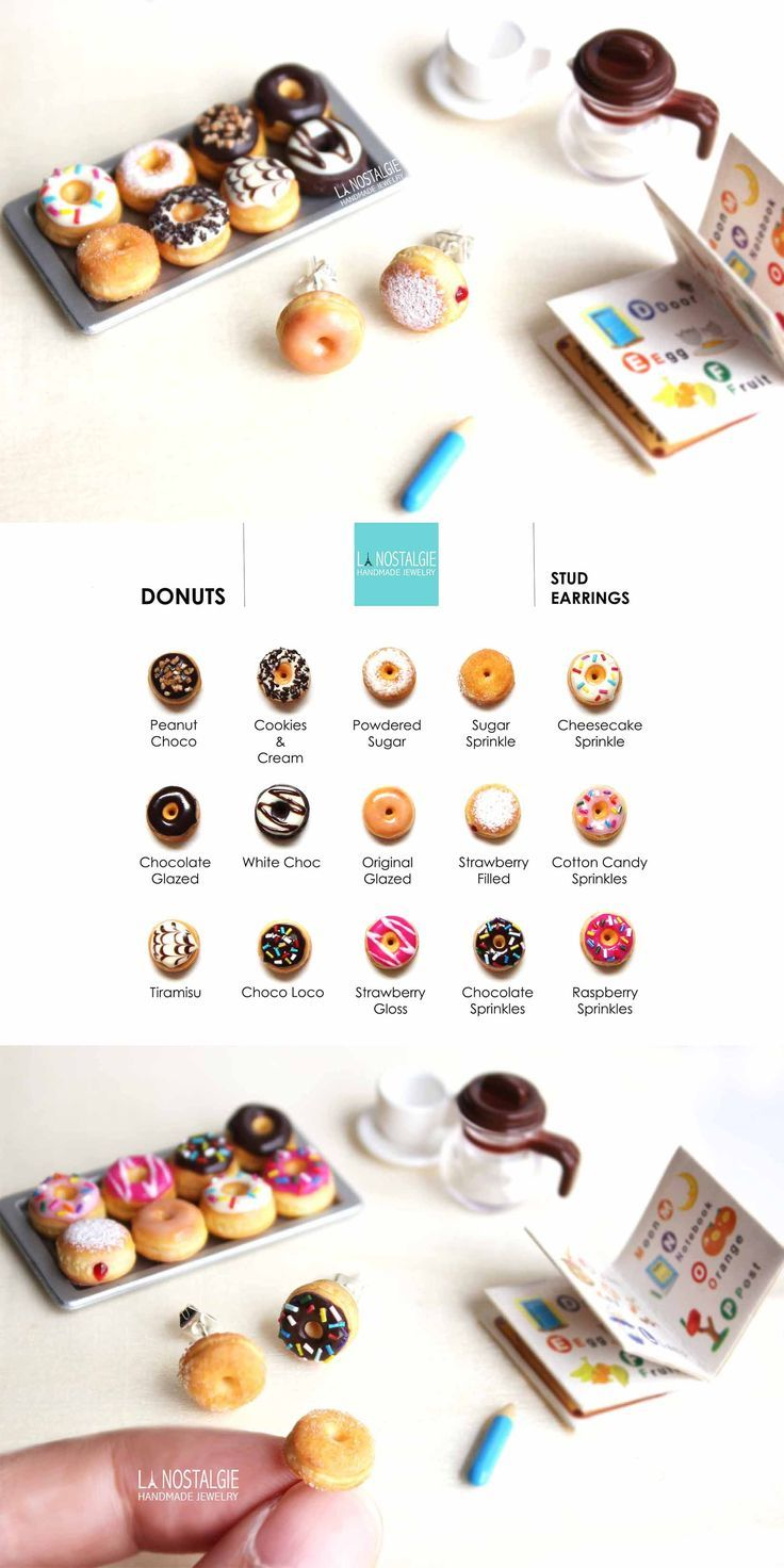Donut stud earrings. What's your favorite doughnut flavour?⎪Yummy #Donut tiny stud earrings | stainless steel⎪Polymer clay⎪Designed and handmade in France⎪LA NOSTALGIE⎪artisan jewelry #jewellery #etsy: