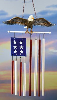 Outdoor Hanging Eagle And Flag Wind Chime Garden Decoration