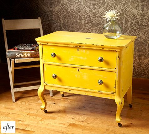 :: Refurbishing found furniture turned beautiful yellow dresser. Cleaned up frame, a coat of yellow paint and a distressed finish gives it a more aged feel ::