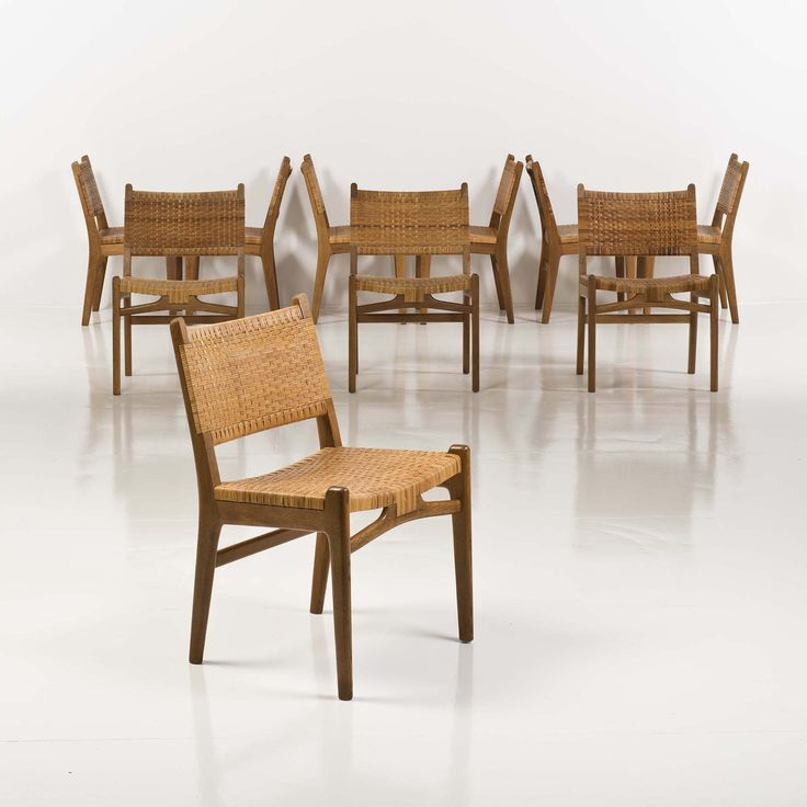Hans Wegner; Oak and Cane Chairs for Carl Hansen & Søn, 1950s.