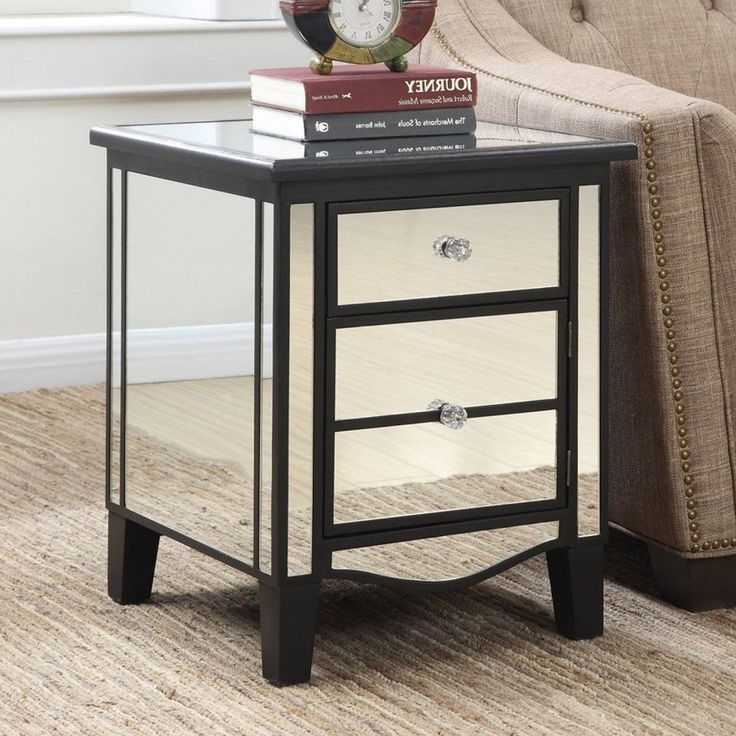 This gorgeous mirrored table features two drawers for maximum concealed storage. Mirrored End Table Features Bring a bit of glamor to your favorite seating area with thisMirrored End Table. 2 drawers for storage. | eBay!