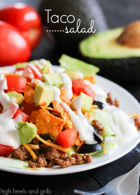 Taco Salad. Super easy dinner recipe that can be whipped up in no time! http://www.highheelsandgrills.com/2014/03/taco-salad.html