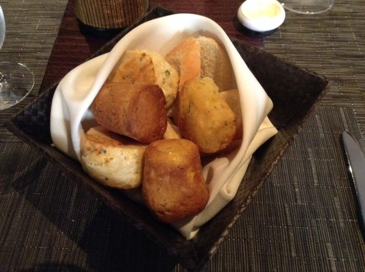 The best bread basket ever is at Spoon in Pittsburgh! Cornbread, cream cheese and chive biscuits and locally baked baguette.