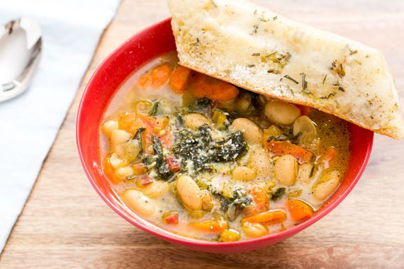 Cannellini Bean & Parmesan Soup with Rainbow Swiss Chard & Taleggio-Rosemary Toast. Visit http://www.blueapron.com/ to receive the ingredients.