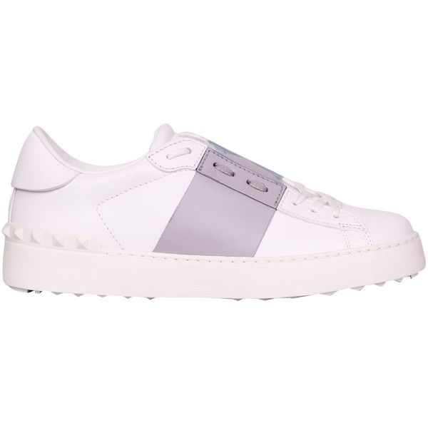 Valentino Garavani Leather Open sneakers (765 CAD) ❤ liked on Polyvore featuring shoes, sneakers, grigio, genuine leather shoes, white sneakers, leather sneakers, studded shoes and valentino sneakers