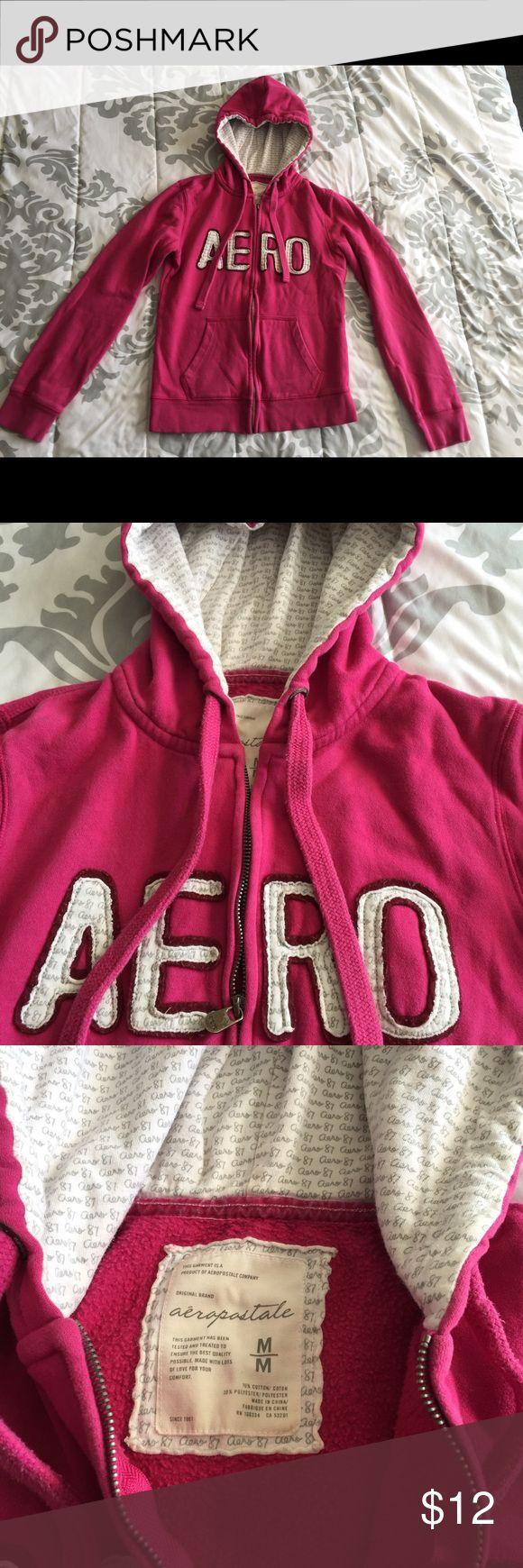 Pink Aeropostale zip up hoodie MEDIUM. Aeropostale pink zip up hoodie size medium. No rips, tears, or stains, pet and smoke free home. No trades ! Aeropostale Tops Sweatshirts & Hoodies