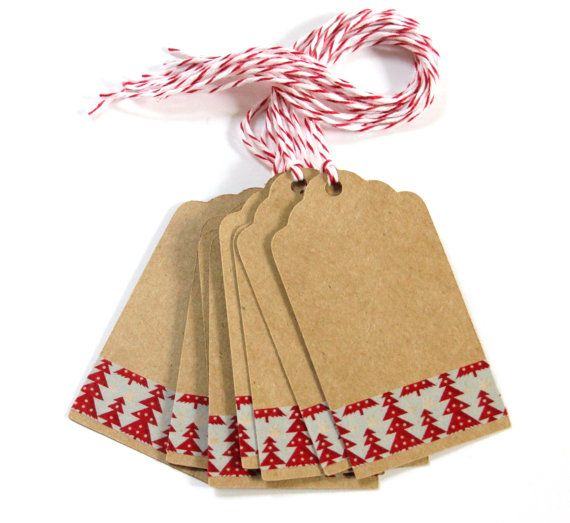 10 Die Cut Red  Blue Christmas Tree Washi Tape Kraft Tags (3 x 1.6 inches) with Baker's Twine - Gift Tags, Price Tags, Escort Cards, etc.