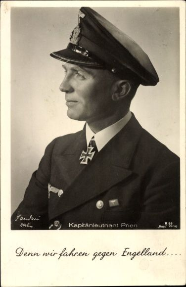 Günther Prien (1908-1941) was a German U-boat ace in World War II. Under his command, U-47 sank over 30 Allied ships totaling 193,808 tons. U-47 went missing with all hands on March 7, 1941.