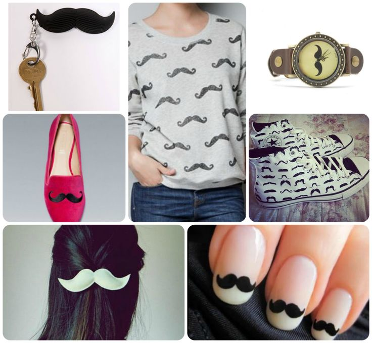 Moustache, movember - keyring, jumper, watch, shoes, even in your hair or nails! - Hipster Girl