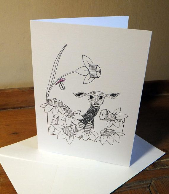 Little Lamb Greeting Card from an original art by EmmaGilesArt