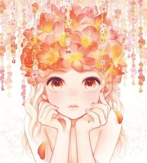 Imagem de anime, cute, and flowers
