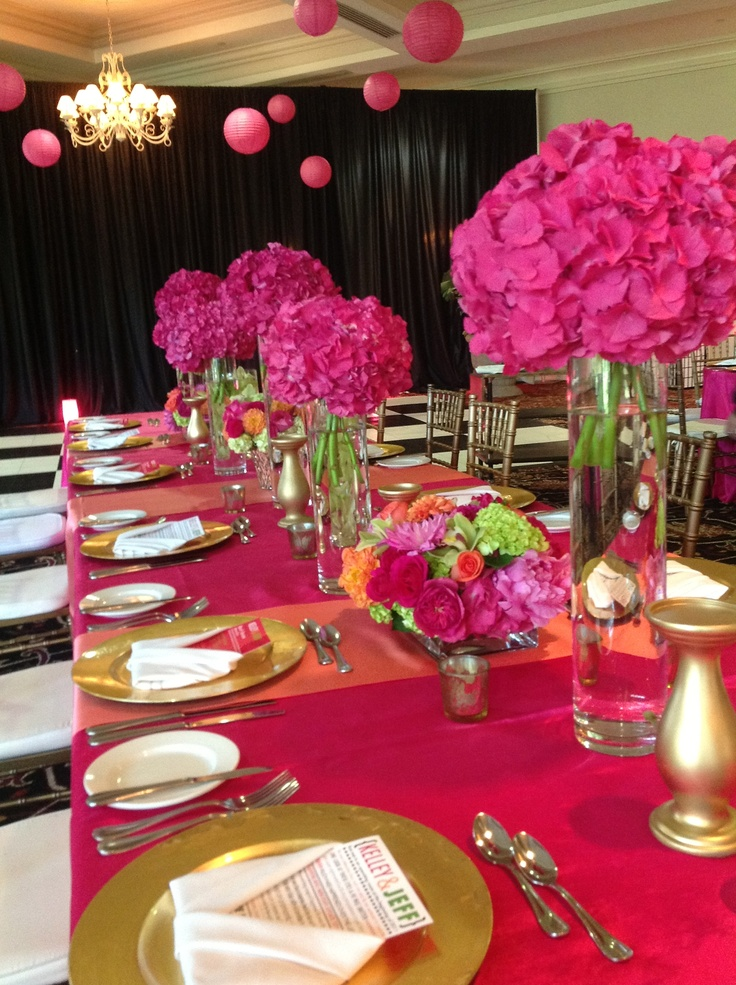 Aisle piece --> centerpiece 2B Pink hydrangea and no branches