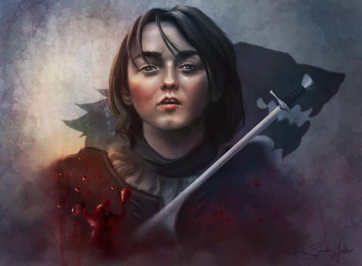 """Arya Stark   """"I see you. I see you, wolf child. Blood child. I thought it was the lord [Beric] who smelled of death... You are cruel to come to my hill, cruel. I gorged on grief at Summerhall, I need none of yours. Begone from here, dark heart. Begone!""""   The Ghost of High Heart to Arya Stark, among the Brotherwood Without Banners."""