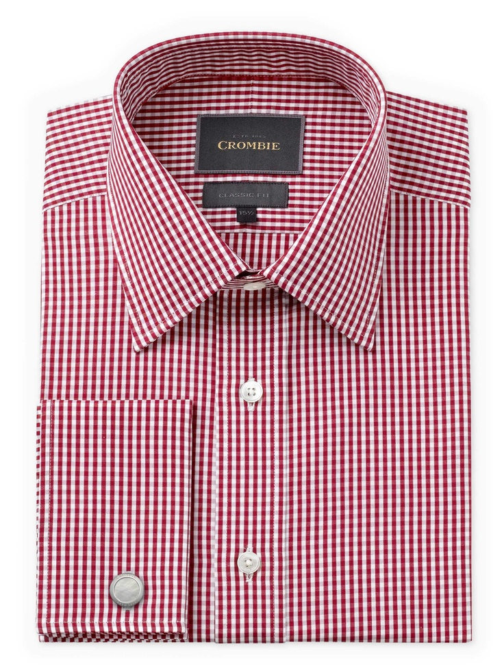 Red & White Gingham Check Two Fold Cotton Shirt, Classic Fit - http:/