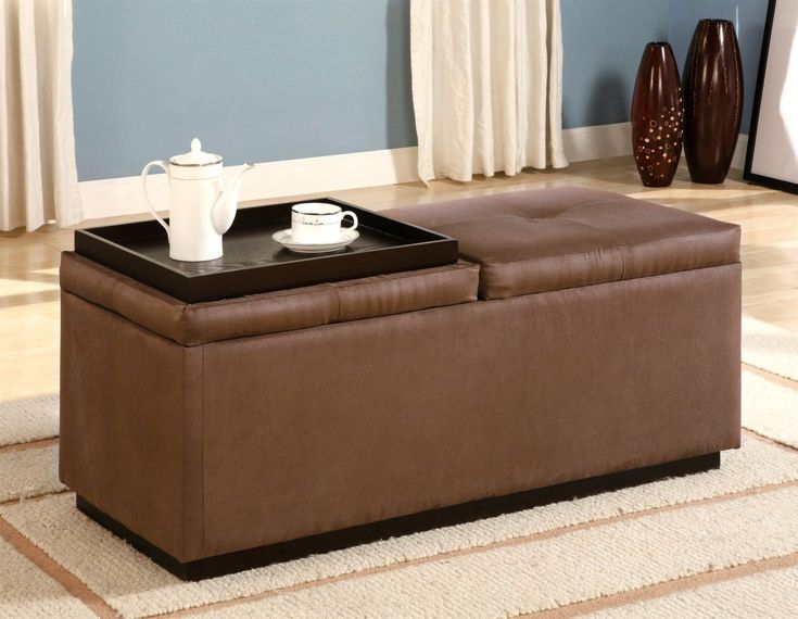 Delightful Furniture: Elegant Sofa And Geometric Pillow Feat Fabulous Leather Ottoman Coffee  Table With Storage Idea